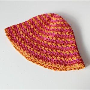 vintage 90s does 70s pink and orange crochet  hat